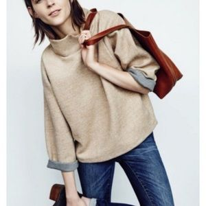 Madewell Herringbone Wool Mock Neck Sweatshirt